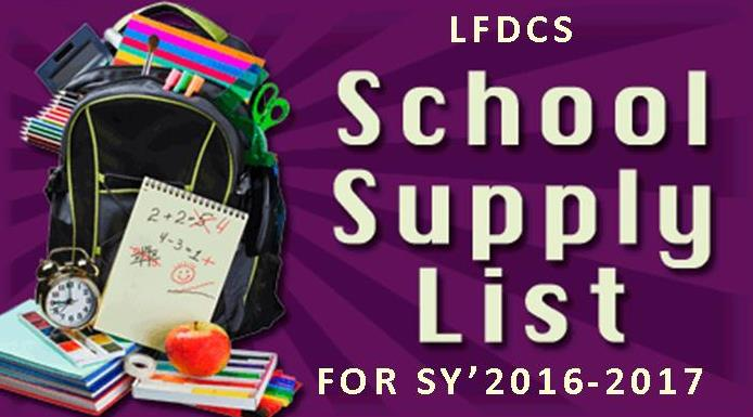 School Supply List Art 2016-2017