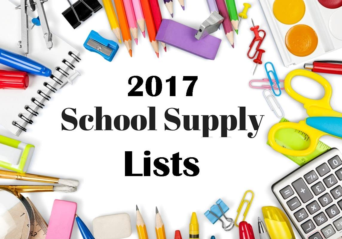 School Supply Lists 2017