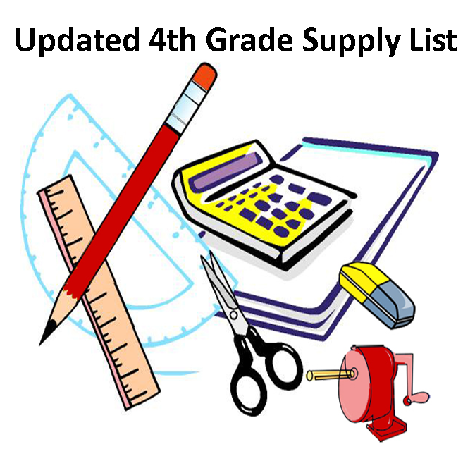 Updated 4th Grade Supply List